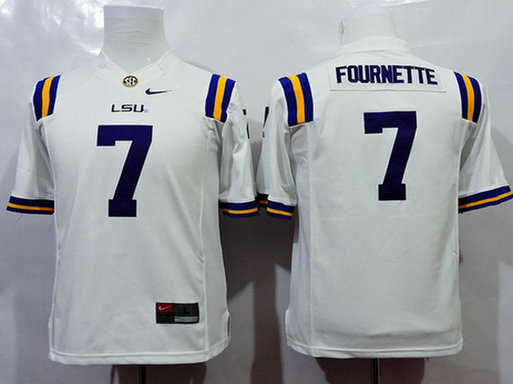 Youth LSU Tigers #7 Leonard Fournette White 2015 College Football Nike Limited Jersey