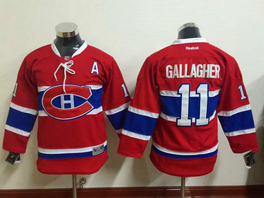 Youth Montreal Canadiens #11 Brendan Gallagher Reebok Red 2015-16 Home Premier Hockey Jersey
