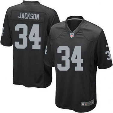 Youth Nike Oakland Raiders#34 Bo Jackson Retired Game Black Stitched Jersey