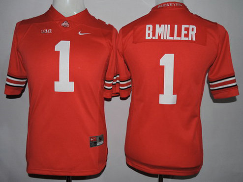 Youth Ohio State Buckeyes #1 Baxton Miller Red 2015 College Football Nike Limited Jersey