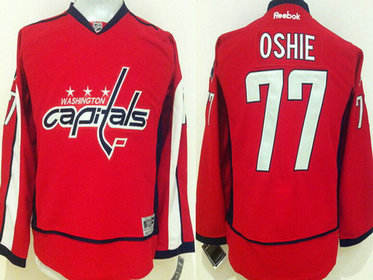 Youth Washington Capitals #77 T.J. Oshie Home Red NHL Reebok Jersey